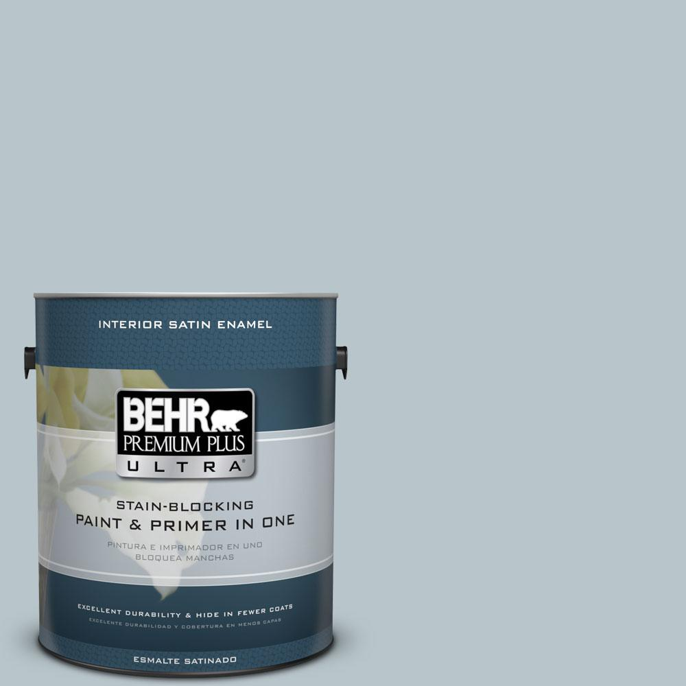 1 gal. #ICC-46 Soft Denim Satin Enamel Interior Paint and Primer