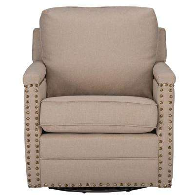 Ashley Contemporary Beige Fabric Upholstered Accent Chair