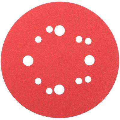 5 in. 80-Grit Universal Hole Random Orbital Sanding Disc with Hook and Lock Backing (50-Pack)