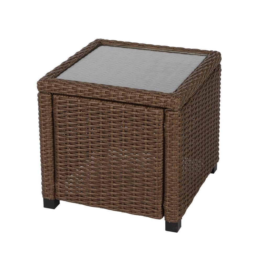Hampton Bay Maldives Brown Wicker Outdoor Accent Table 710 180 005 The Home Depot