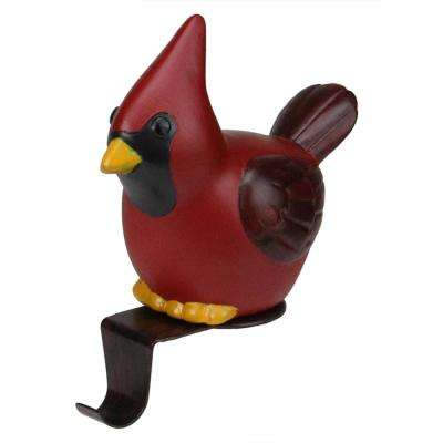 5 in. Red Cardinal Bird Christmas Stocking Holder