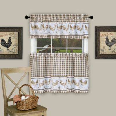Barnyard Taupe Polyester Tier and Valance Curtain Set - 58 in. W x 24 in. L