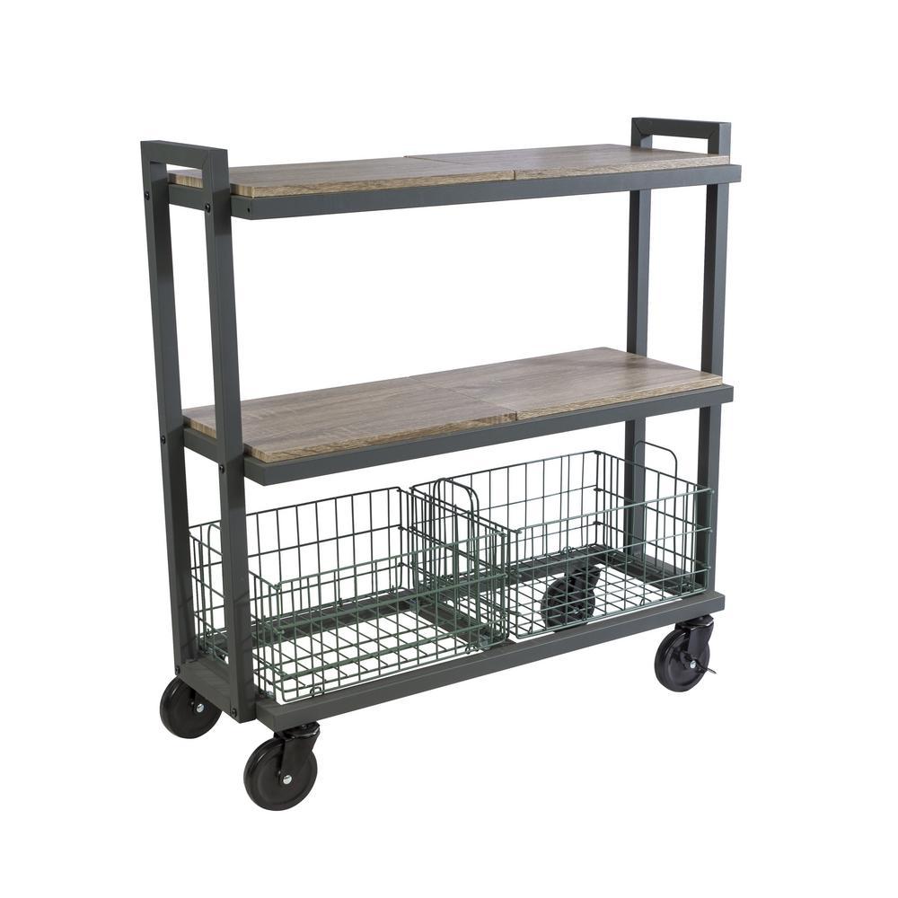3-Tier Steel Cart System Wide in Green