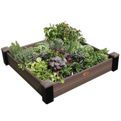 48 in. x 48 in. x 10 in. Maintenance Free Black and Walnut Vinyl Raised Garden Bed