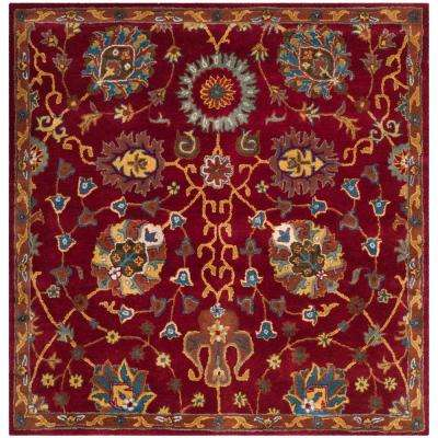 heritage red 6 ft x 6 ft square area rug