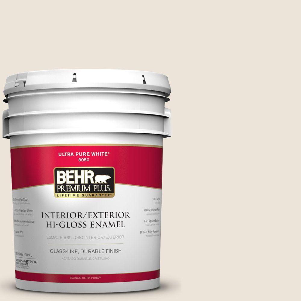 BEHR Premium Plus 5-gal. #N300-1 Sail Cloth Hi-Gloss Enamel Interior/Exterior Paint