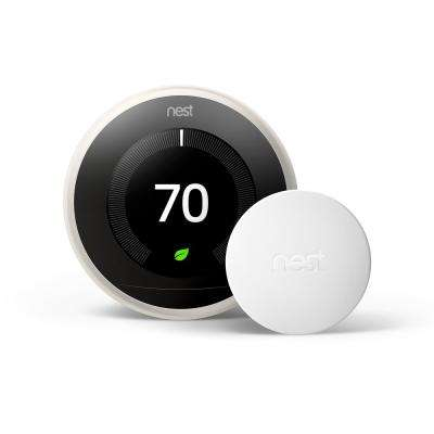 Nest Learning Thermostat 3rd Gen in White and Google Nest Temperature Sensor
