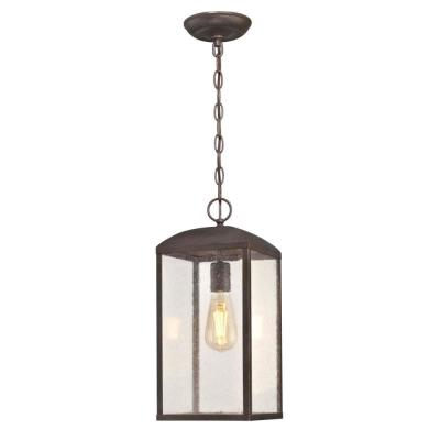 Piazza Medium 1-Light Victorian Bronze Outdoor Pendant Light with Clear Seeded Glass