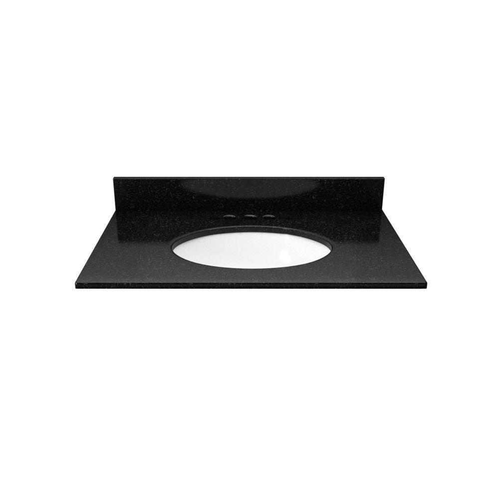 25 in. Granite Vanity Top in Black Galaxy with White Basin