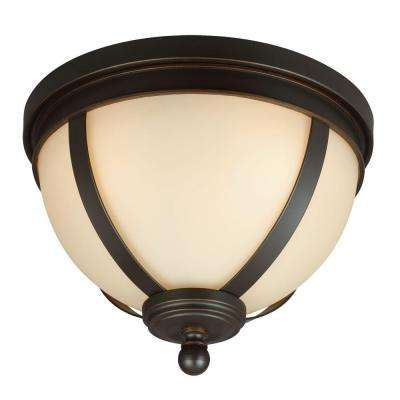 Sfera 3-Light Autumn Bronze Ceiling Flushmount with Cafe Tint Glass