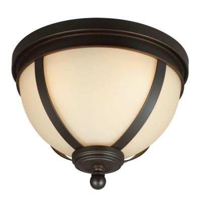 Sfera 14.5 in. W. 3-Light Autumn Bronze Ceiling Flush Mount with Cafe Tint Glass