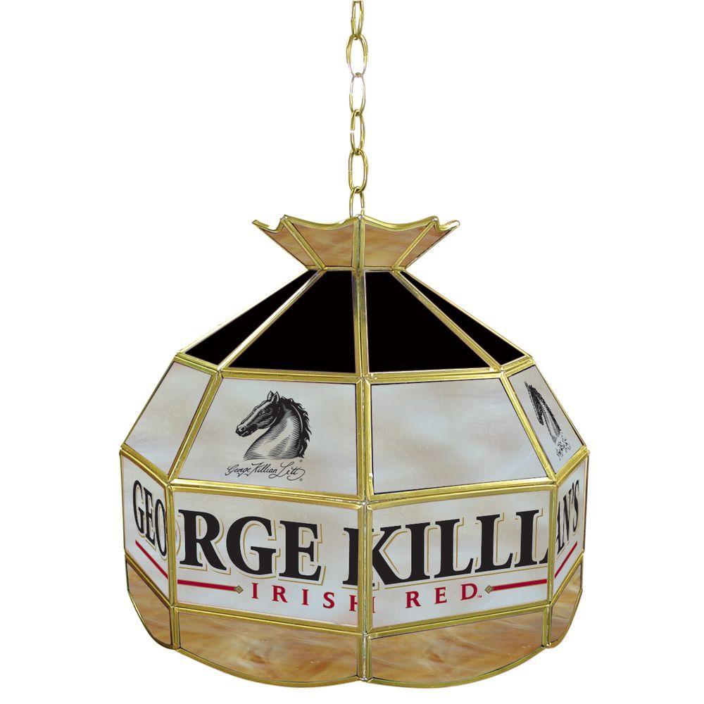 Trademark Global Killians 16 in. Brass Hanging Tiffany Style Billiard Lamp