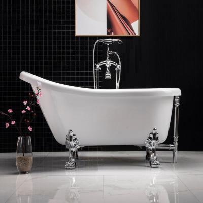 Derby 54 in. Acrylic Clawfoot Single Slipper Soaking Bathtub with Drain and Overflow Included in White