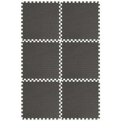 EVA Foam Mat Collection Black 144 in. x 216 in. Yoga Mat