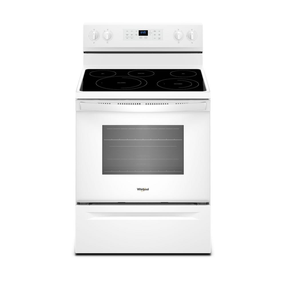 Whirlpool 5 3 Cu Ft Electric Range With Self Cleaning Convection Oven In White