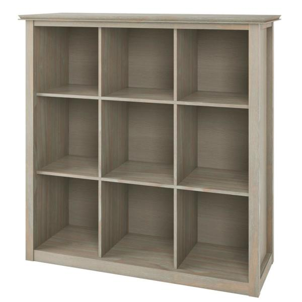 Holden Solid Wood 45 in. x 43 in. Distressed Grey Contemporary 9-Cube Bookcase and Storage Unit