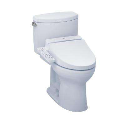Drake II Connect+ 2-Piece 1.28 GPF Elongated Toilet with Washlet C100 Bidet Seat and CeFiONtect in Cotton White