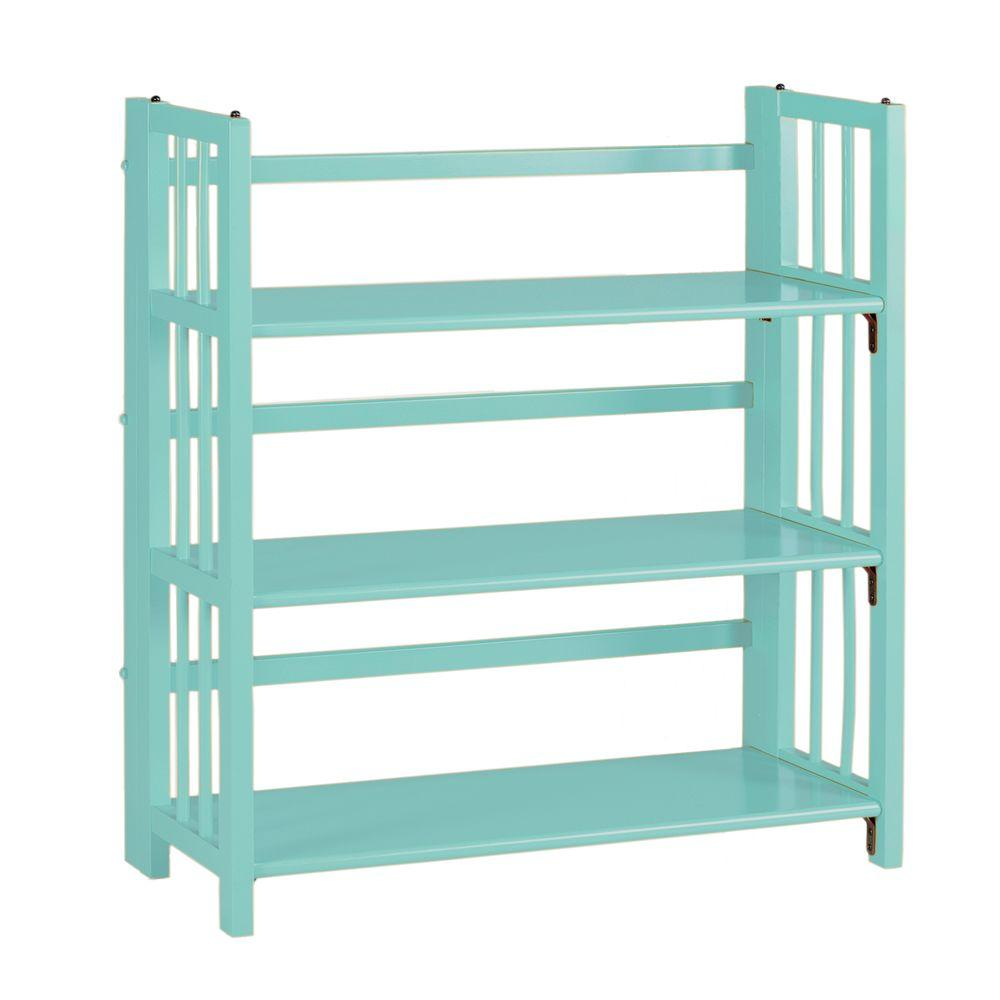Home Decorators Collection Multimedia Pool Blue Folding and Stacking 3-Shelf Bookcase