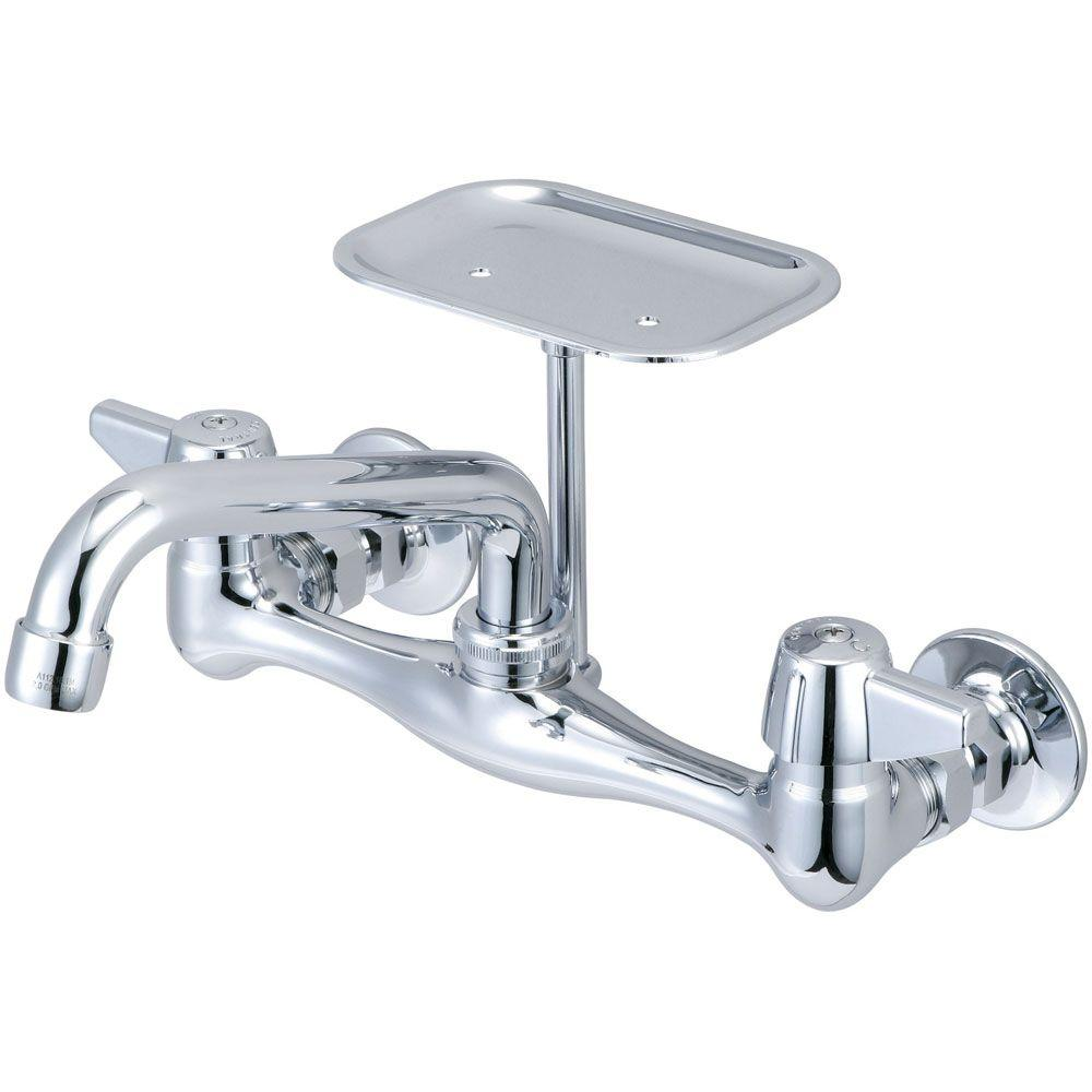 Central Brass Wall Mount 2 Handle Standard Kitchen Faucet In Chrome