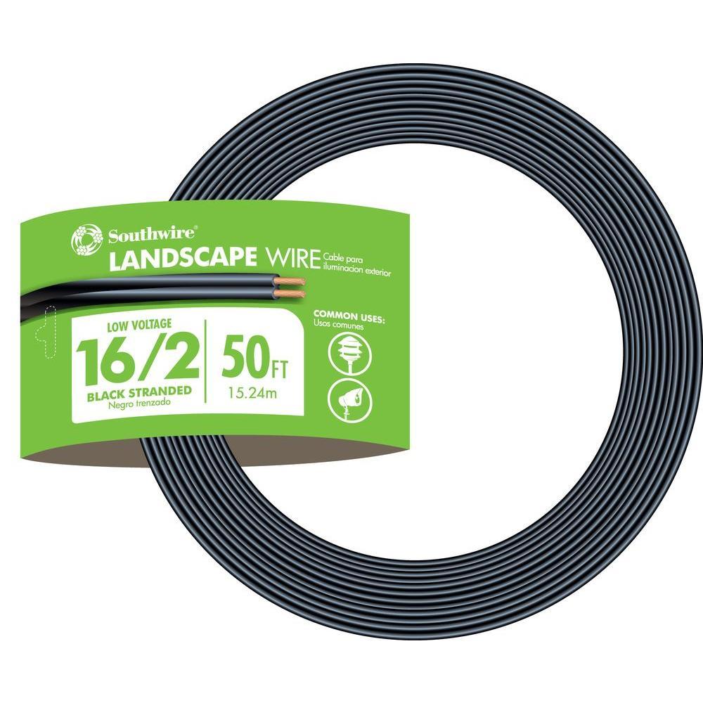 Southwire 50 ft. 16/2 Black Stranded CU Low-Voltage Landscape Lighting Wire