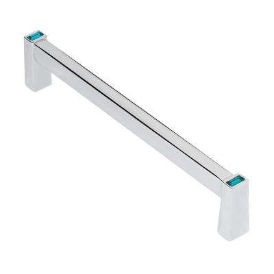 Long Island 5 in. Chrome with Ocean Blue Crystal Cabinet Pull