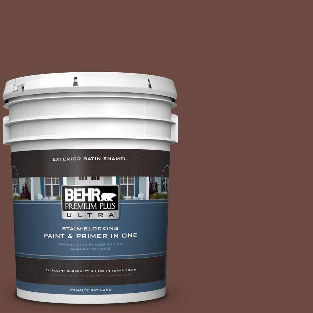 BEHR Premium Plus Ultra 5-gal. #BNC-32 Maximum Mocha Satin Enamel Exterior Paint