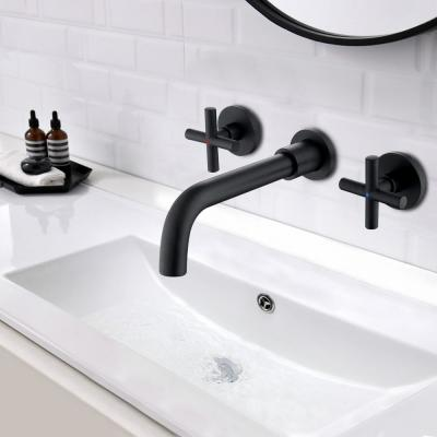 2-Handle Wall Mount Bathroom Faucet with Cross Handles in Matte Black