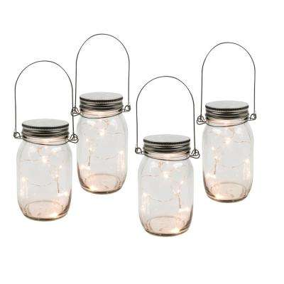6.9 in. H Clear Lighted Mason Jars (Set of 4)
