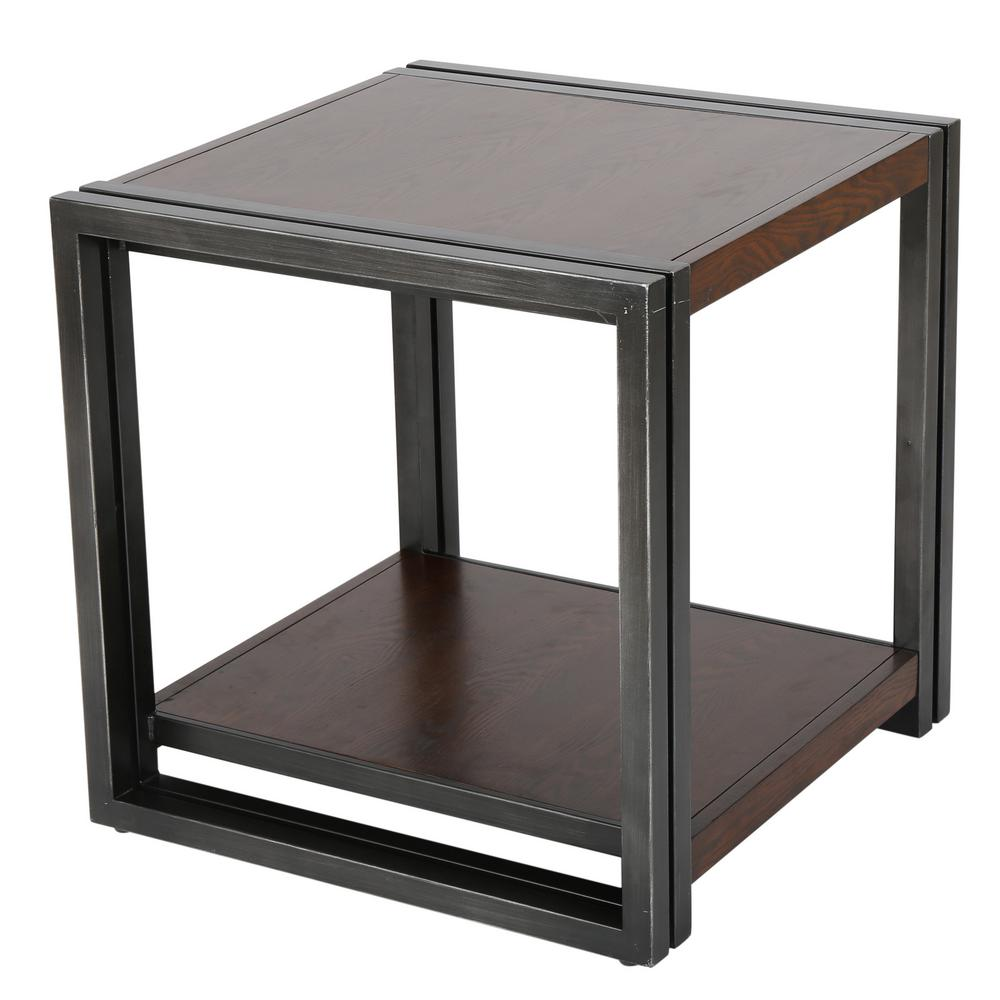 Dark oak brown wood and black iron 2 tier side table
