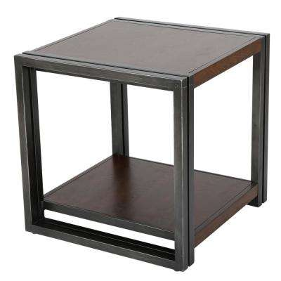 Dark Oak Brown Wood and Black Iron 2-Tier Side Table