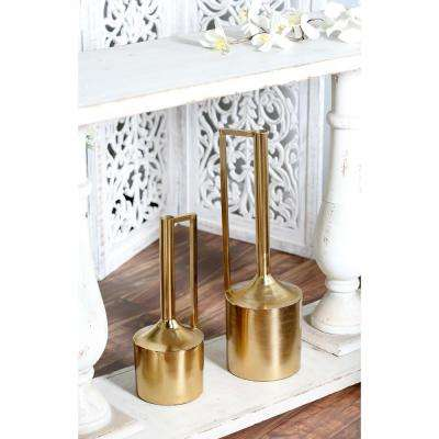 Gold Iron Decorative Vase with Cylindrical Body, Tall Neck and Inverted L Handle (Set of 2)