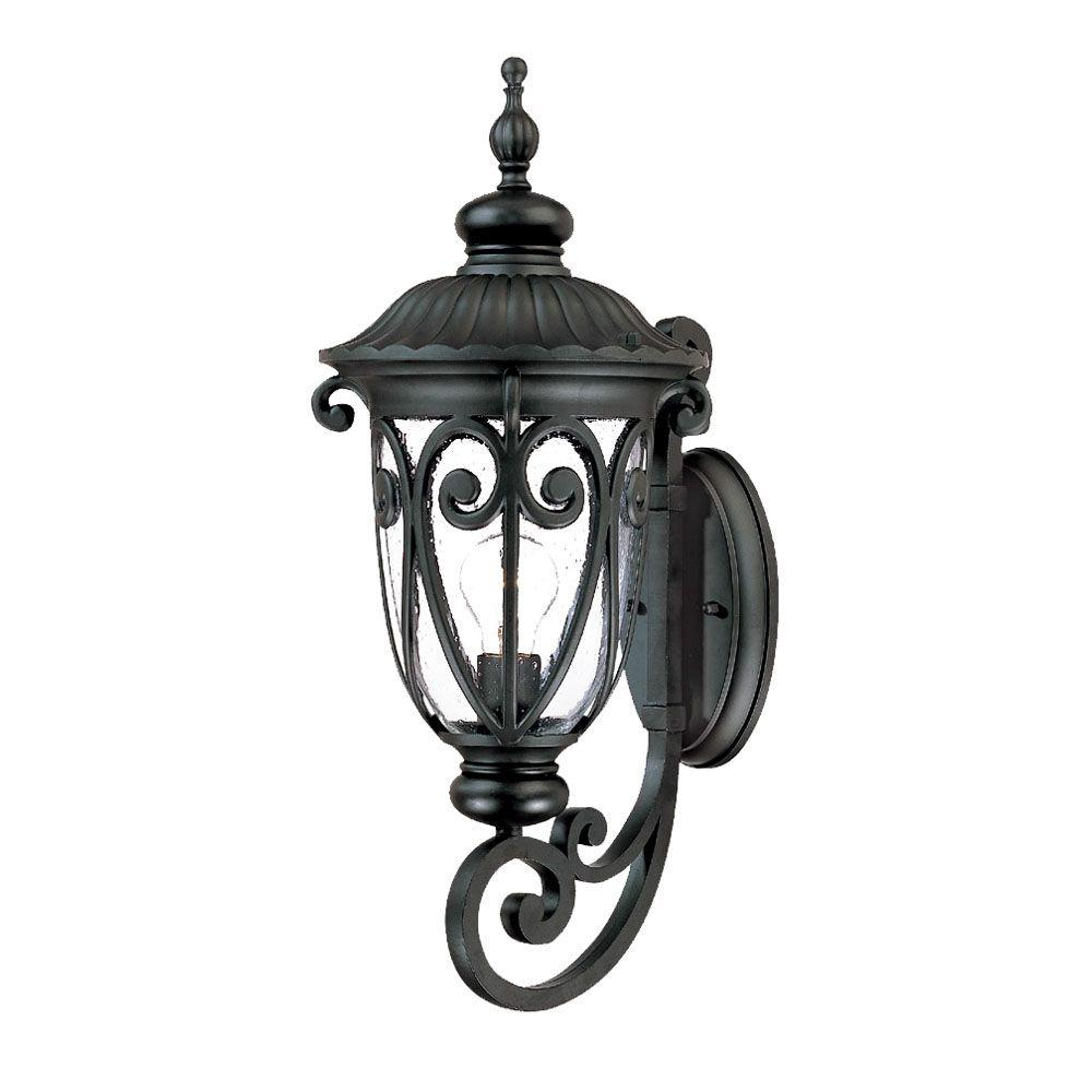 Naples Collection 1-Light Matte Black Outdoor Wall-Mount Light Fixture