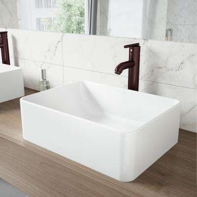 Amaryllis White Matte Stone Vessel Bathroom Sink and Seville Bathroom Vessel Faucet in Oil Rubbed Bronze