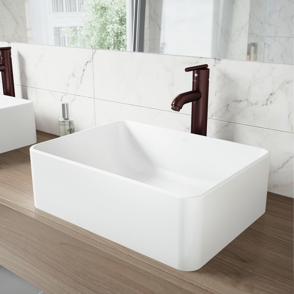 VIGO AmaryllisMatte Stone Vessel Sink and Seville Bathroom Vessel ...