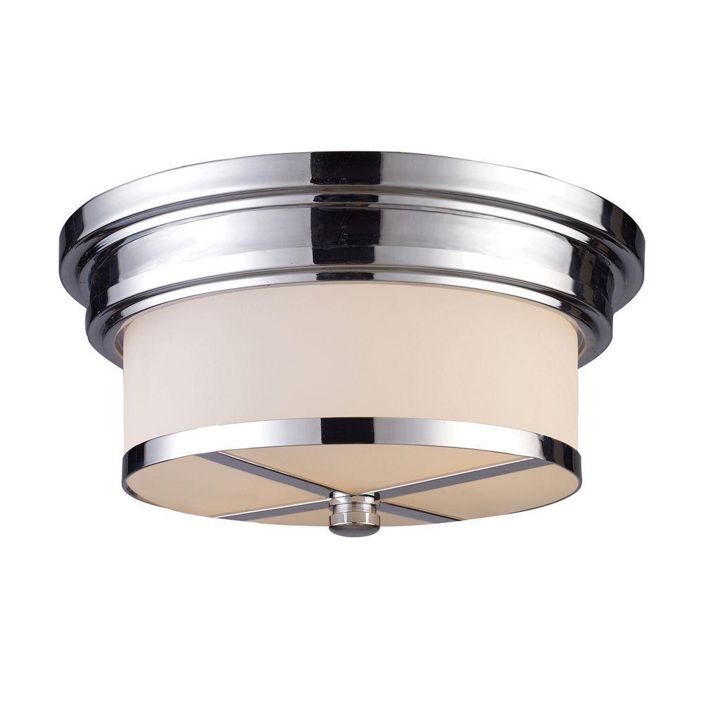 2-Light Polished Chrome Ceiling Flush Mount