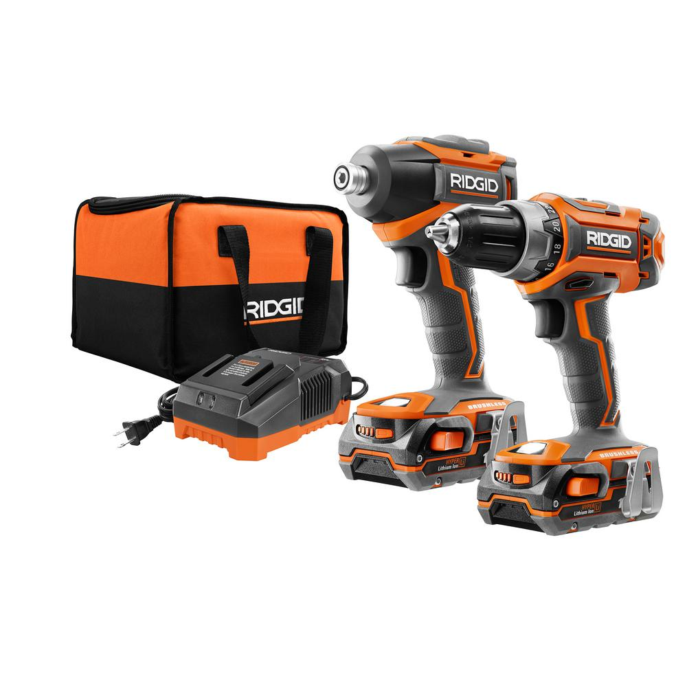 RIDGID 18-Volt Lithium-Ion Cordless Brushless Drill/Driver and Impact Driver Combo Kit w/(2) 1.5Ah Batteries, Charger and Bag
