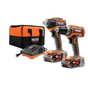 Ridgid 18-Volt Lithium-Ion Cordless Brushless Drill/Driver and Impact Driver Combo Kit w/(2) 1.5Ah Batteries,... by RIDGID