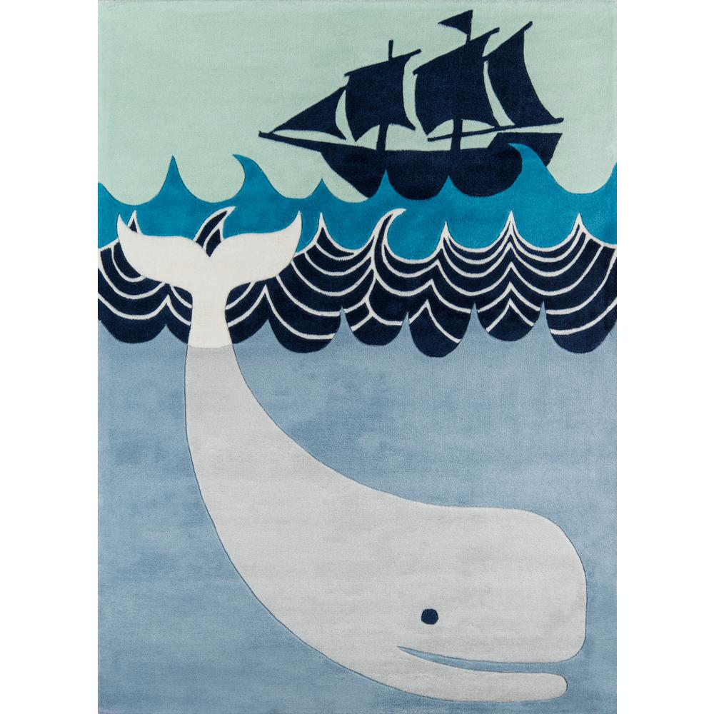 Momeni Lil Mo Whimsy Happy Whale Multi Blue 3 Ft X 5 Ft Indoor Kids Area Rug Lmojulmj27mbu3050 The Home Depot
