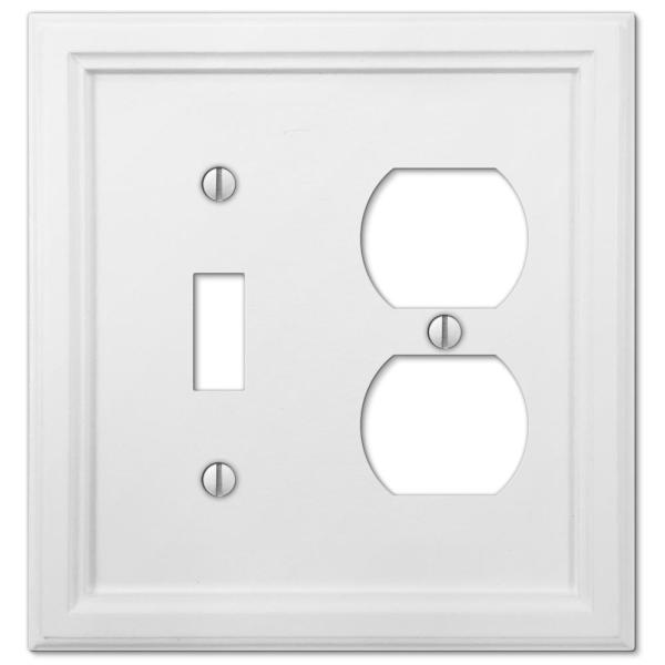 Elly 2 Gang 1-Toggle and 1-Duplex Composite Wall Plate - White