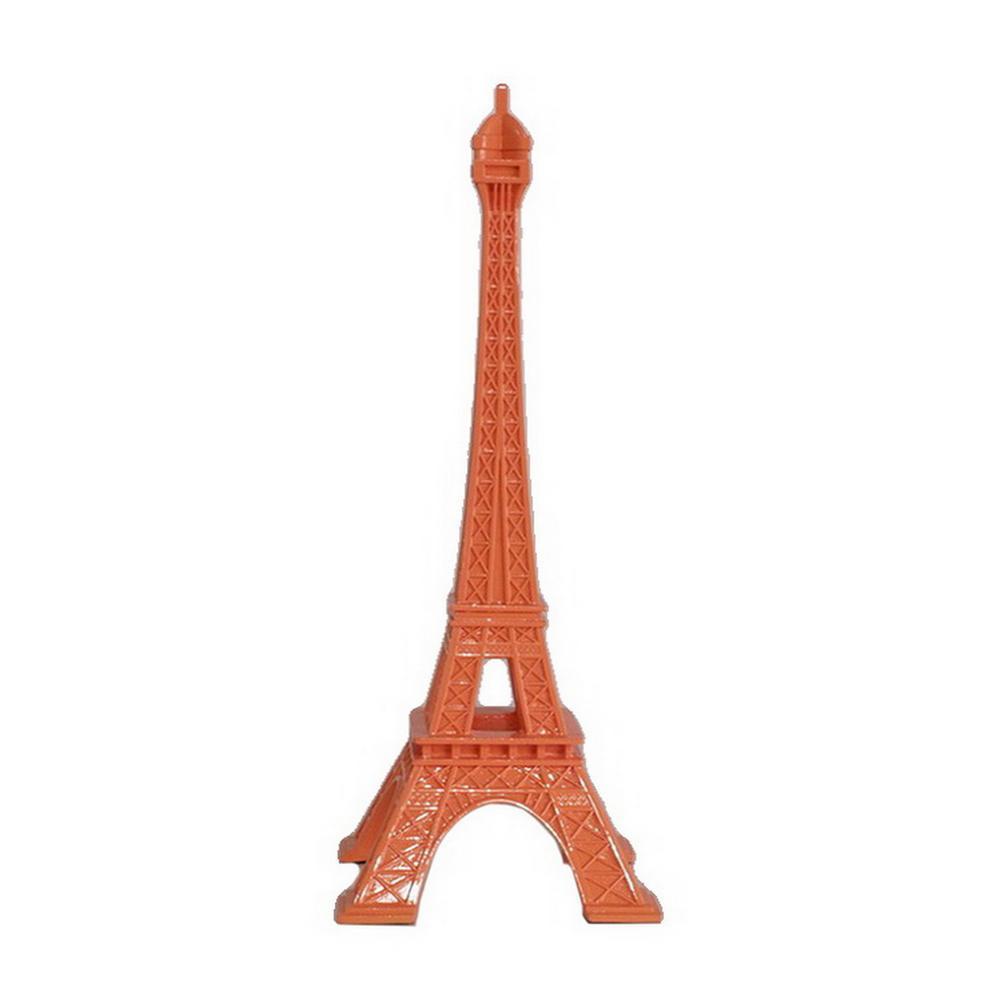 7.25 in. x 7.25 in. Orange Resin Eiffel Tower Tabletop Decoration in Orange