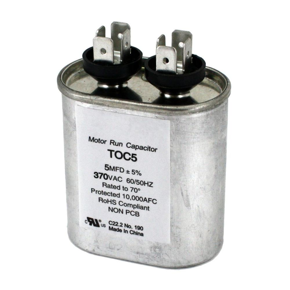 packard 370-volt 5 mfd motor run oval capacitor-toc5