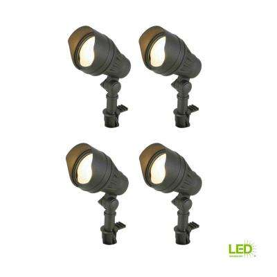 Low-Voltage 50-Watt Equivalent Black Outdoor Integrated LED  Landscape Flood Light (4-Pack)