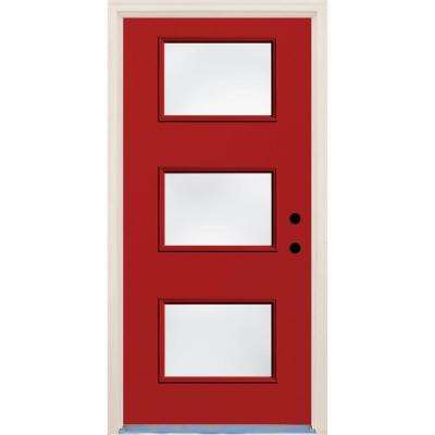 36 in. x 80 in. Engine Left-Hand 3 Lite Clear Glass Painted Fiberglass Prehung Front Door with Brickmould