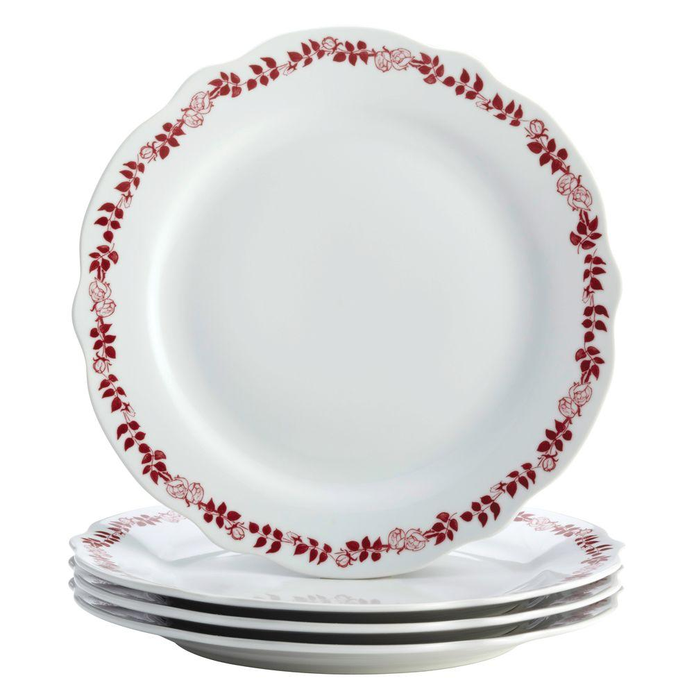 Dinnerware Yuletide Garland 4-Piece Porcelain Stoneware Fluted Dinner Plate Set