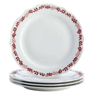 Dinnerware Yuletide Garland 4-Piece Porcelain Stoneware Fluted Dinner Plate Set in Print