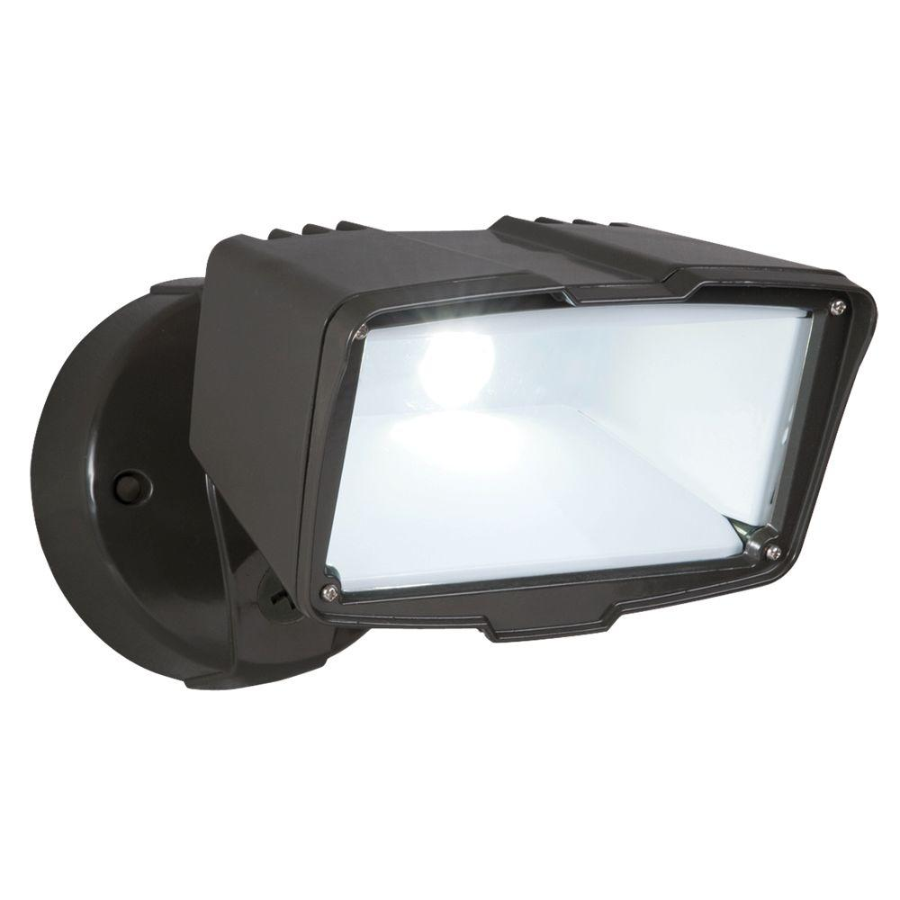 All Pro Bronze Outdoor Integrated LED Large Single Head Security Flood Light  With 1900 Lumens And 5000K Daylight FSL2030L   The Home Depot