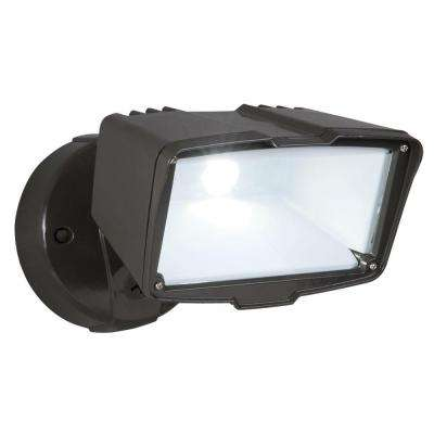 Bronze Outdoor Integrated LED Large Single-Head Security Flood Light with 1900 Lumens and 5000K Daylight