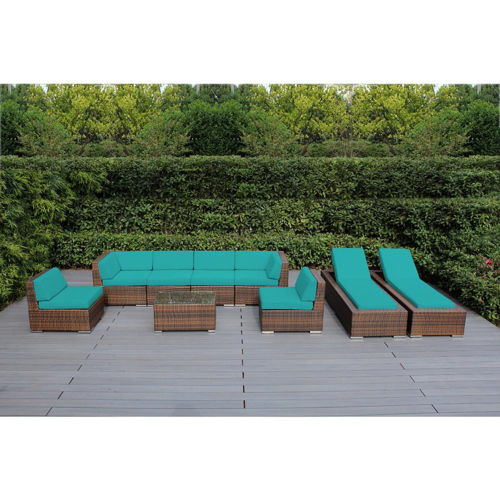 Mixed Brown 9-Piece Wicker Patio Combo Conversation Set with Sunbrella Aruba Cushions