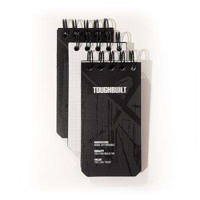 X-Small Grid Notebooks with Plastic Cover, Black (3-Pack)