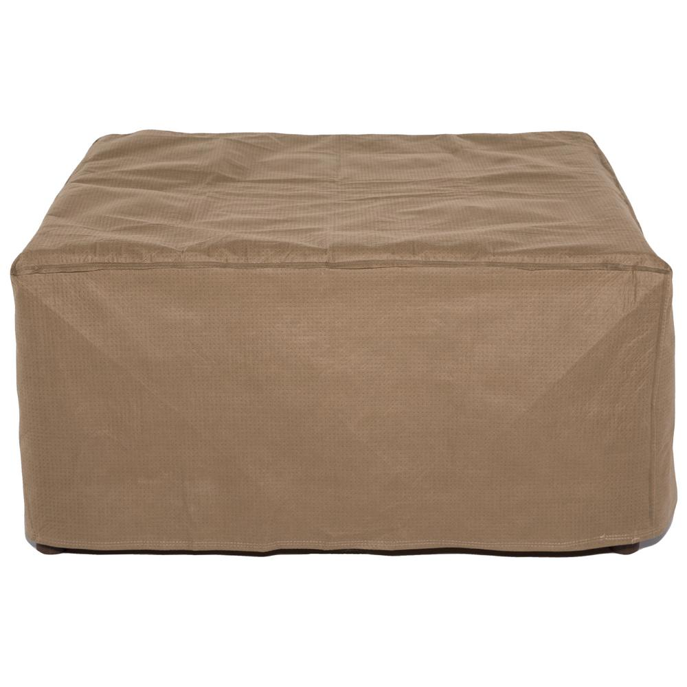 Tan Square Patio Ottoman or Side Table Cover  sc 1 st  Home Depot & Duck Covers Essential 26 in. Tan Square Patio Ottoman or Side Table ...